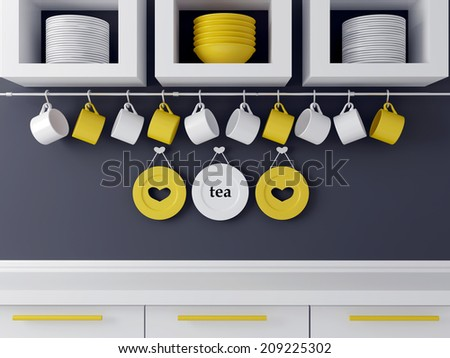 Modern kitchen design with white furniture. Ceramic kitchenware on the shelf in front of gray wall.