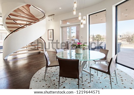 Modern Kitchen, Dining Room, Faucets, Spiral Staircase