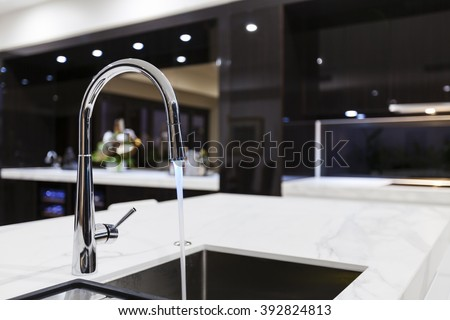 Modern kitchen faucet with LED light
