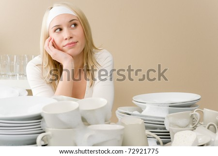 Modern kitchen - frustrated woman in kitchen, fed up