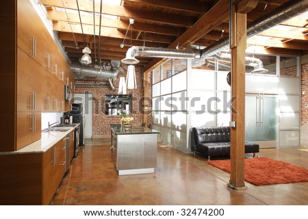 Modern kitchen in a huge loft