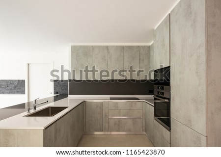 Modern kitchen in bright white apartment. Nobody inside