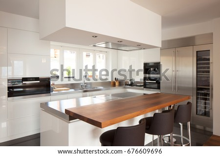 Modern kitchen in luxury apartment. Nobody inside #676609696