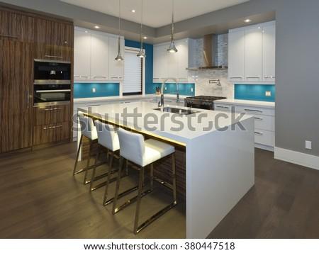 Modern kitchen in new luxury house #380447518