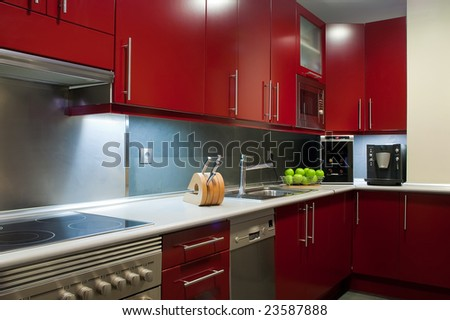 modern kitchen in red and grey colors