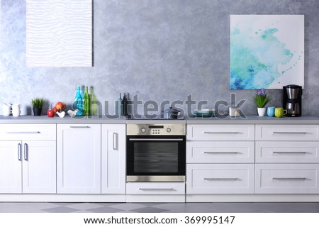 Modern kitchen interior, close up