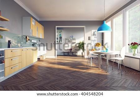 modern kitchen interior. 3d concept #404548204