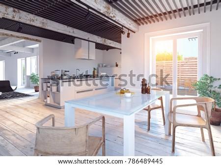 modern kitchen interior. 3d illustration creative concept