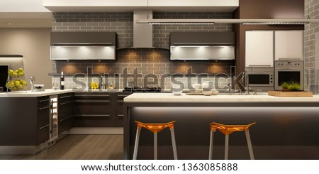 Modern kitchen interior. 3d rendering.