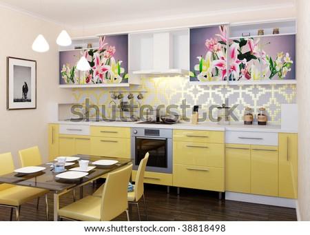 Modern kitchen. Interior design idea.