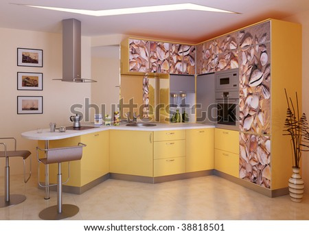 Modern Kitchen Interior Design IdeaComputer Graphic