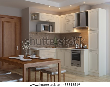 Modern kitchen. Interior design idea.Computer graphic rendering.Orange Kitchen