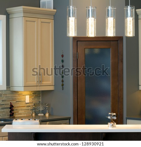 Modern kitchen Interior design  in a new house - stock photo
