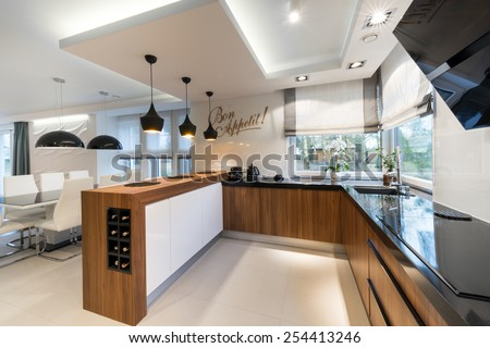 Modern kitchen interior design in black and white style