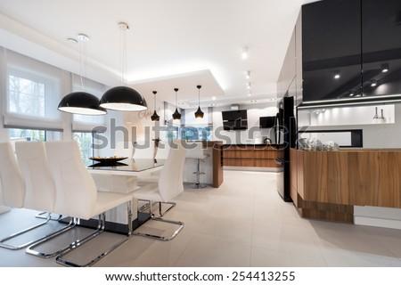 Modern kitchen interior design in black and white style