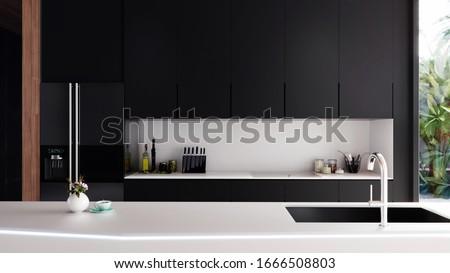 Modern Kitchen Interior Front, 3D Illustration