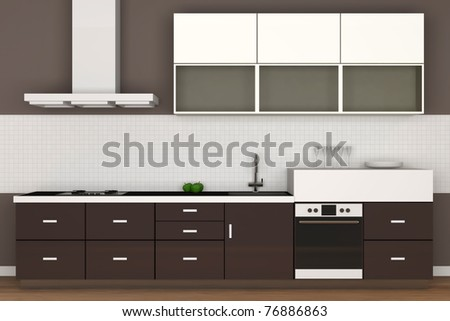 Modern Kitchens on Modern Kitchen Interior  Hight Resolution 3d Image  Stock Photo