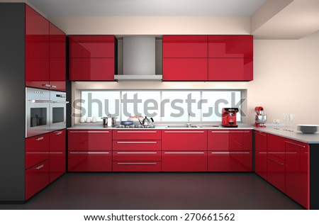 Modern kitchen interior in red color theme. 3D rendering image.