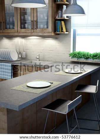 Modern kitchen interior view