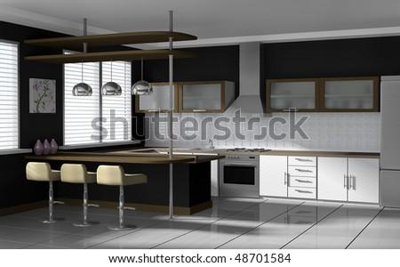 Modern kitchen - interior visualization. High quality 3D rendered image.