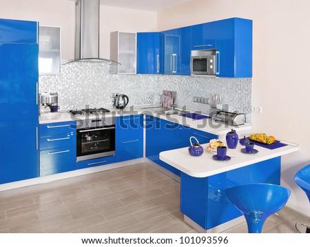 Modern kitchen interior with blue decoration