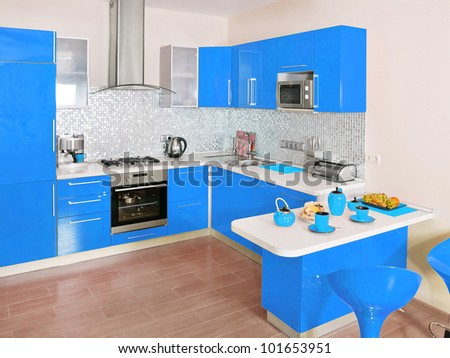 Modern kitchen interior with blue decoration