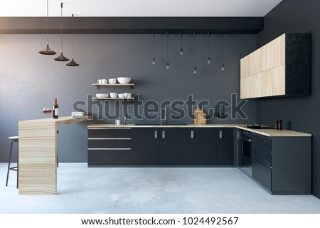 Modern kitchen interior with furniture. Design and lifestyle concept. 3D Rendering
