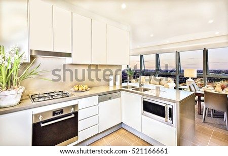 Modern kitchen interior with living room area at evening, luxury look from brown dining table and sofa, wash basin and gas cooker have attached to the pantry cupboard, flower pot near the cooker.