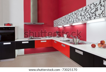 Modern Kitchen Pictures on Modern Kitchen Interior With Red Decoration Stock Photo 73025170