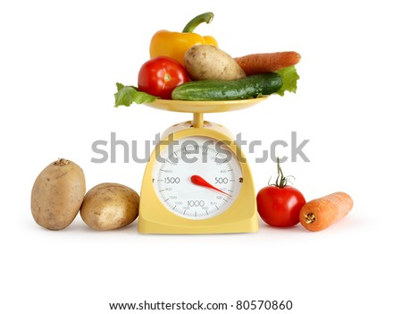 Modern kitchen scale and vegetables on white background. Isolated with clipping path
