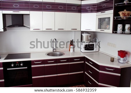 Small Modern Kitchen In Black And Wenge Colors Ez Canvas