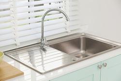 Modern kitchen sink, green tone