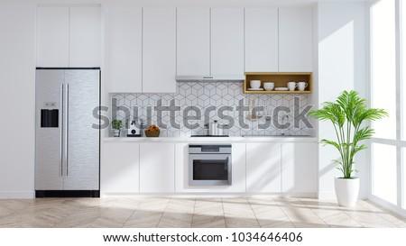 Modern kitchen white room interior .3drender