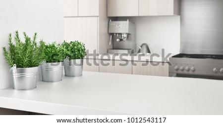 Modern kitchen with aromatics plants, 3d render illustration