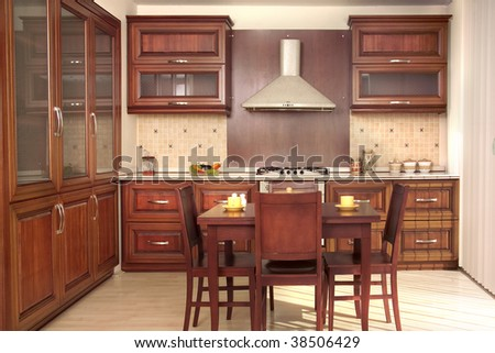 Modern Kitchen With Cherry Drawers And Kitchen Furniture Stock ...