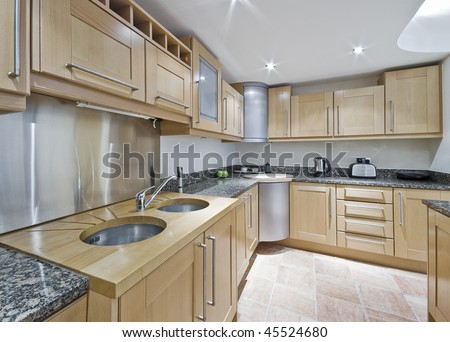modern kitchen with double sink and accessories