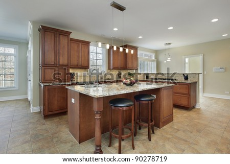 Modern kitchen with granite island and stools