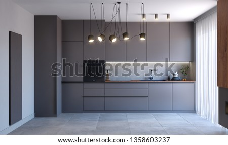 Modern kitchen with gray facades, wood elements, 3d illustration, 3d rendering, 300 dpi