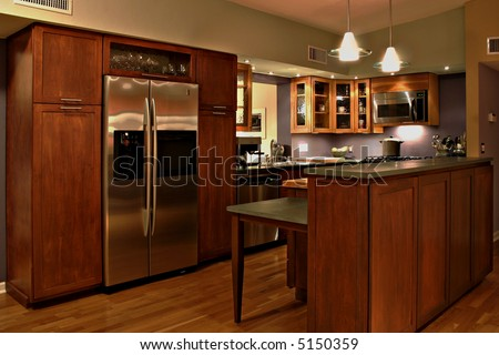 Modern kitchen with handmade cabinets and stainless steel appliances stock photo 5150359 - Factory seconds kitchen cabinets ...