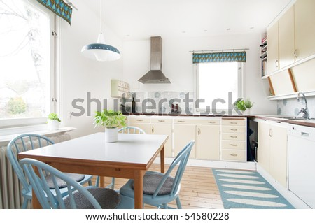 modern kitchen with 1950 retro feeling