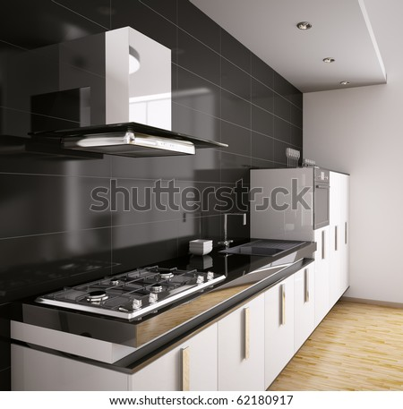 Modern kitchen with sink, gas cooktop and hood interior 3d