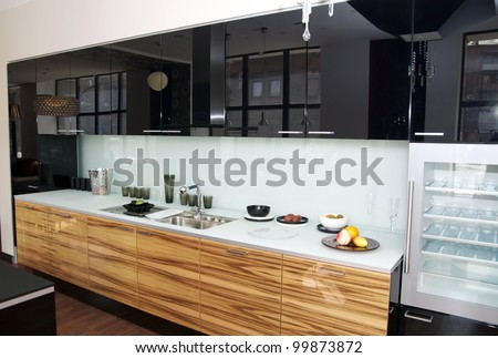 modern kitchen with top refrigerator