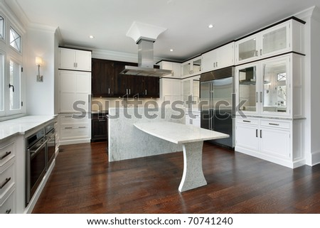 Modern kitchen with white cabinetry and granite island