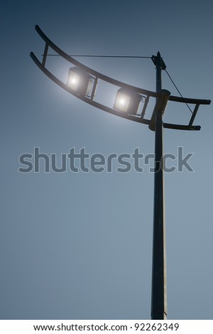 Modern lamp post with evening sky and copyspace