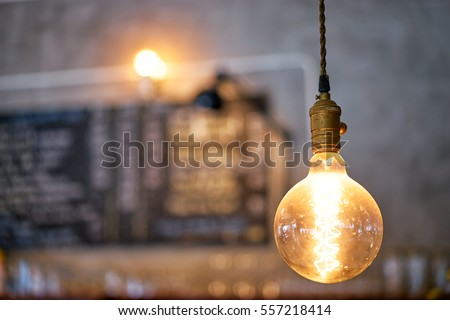 modern lamps in cafe interior.