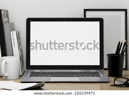 modern lap top template mock up background