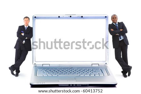 Modern laptop and two businessmans isolated on white background