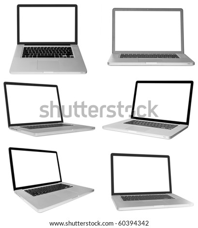 modern laptop computer isolated on white background .