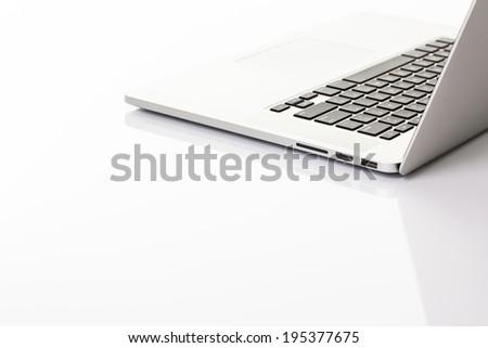 Modern laptop computer on white #195377675