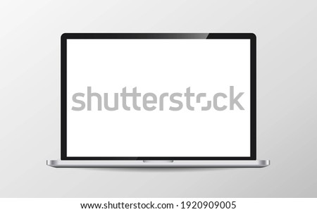 Modern laptop computer vector mockup isolated on white. illustration Сток-фото ©